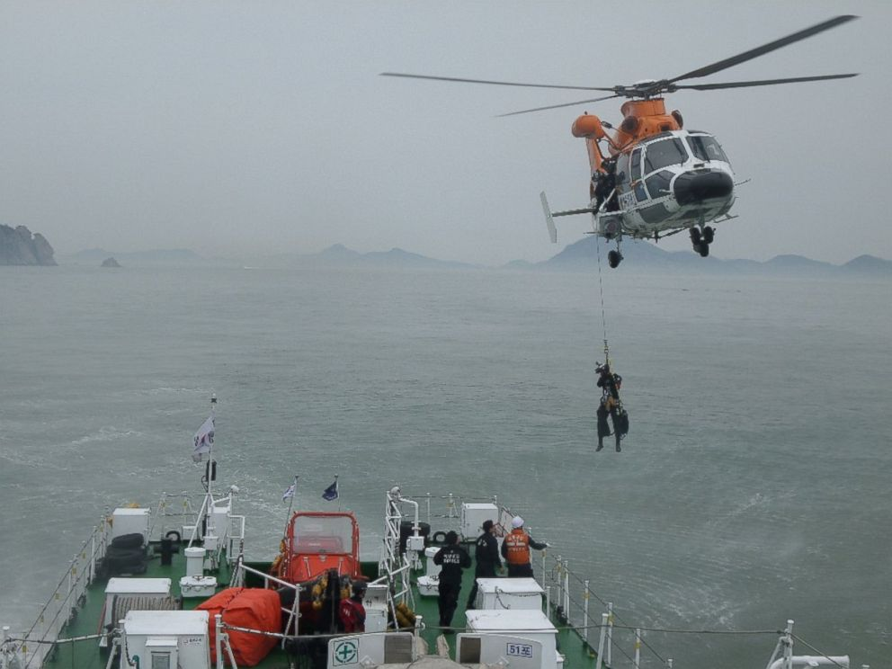 PHOTO: The rescue work by members of the Republic of Korea Coast Guard continues around the site of ferry sinking accident off the coast of Jindo Island, April 16, 2014 in Jindo-gun, South Korea.