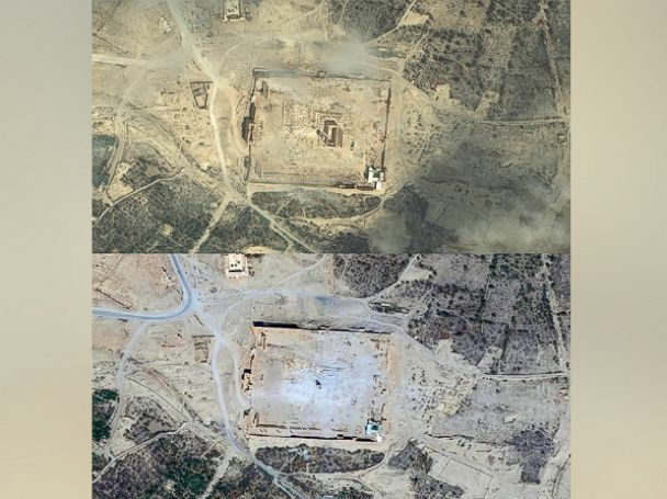 PHOTO:DigitalGlobe imagery of the Baalshamin temple in Palmyra, Syria collected on June 2, 2015 (before and then After) on Sept. 2, 2015.