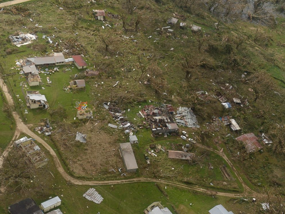 PHOTO: This aerial photo taken on March 16, 2015 shows the cyclone-ravaged Vanuatu, March 16, 2015.