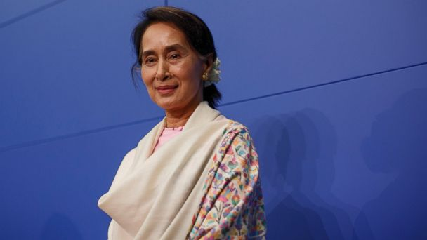 PHOTO: Aung San Suu Kyi is pictured on April 12, 2014 in Berlin, Germany.