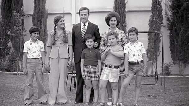 PHOTO: Syrian President Hafez El Assad and his family, pose for a photograph, June 1974, in Damas, Syria. Pictured are, left to right, Bassel, Bouchra, Hafez his wife, Madjeh and Bashar.