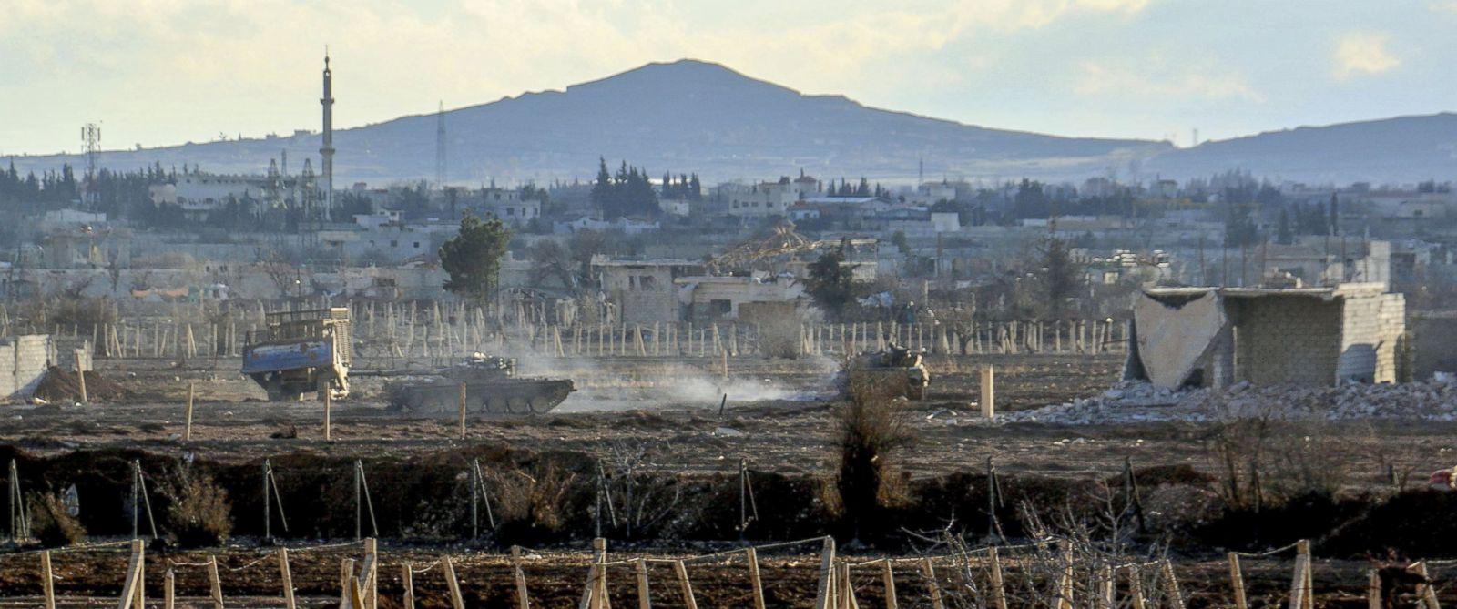 PHOTO: Tanks surround Darayya town in Damascus, Syria, Jan. 28, 2016.