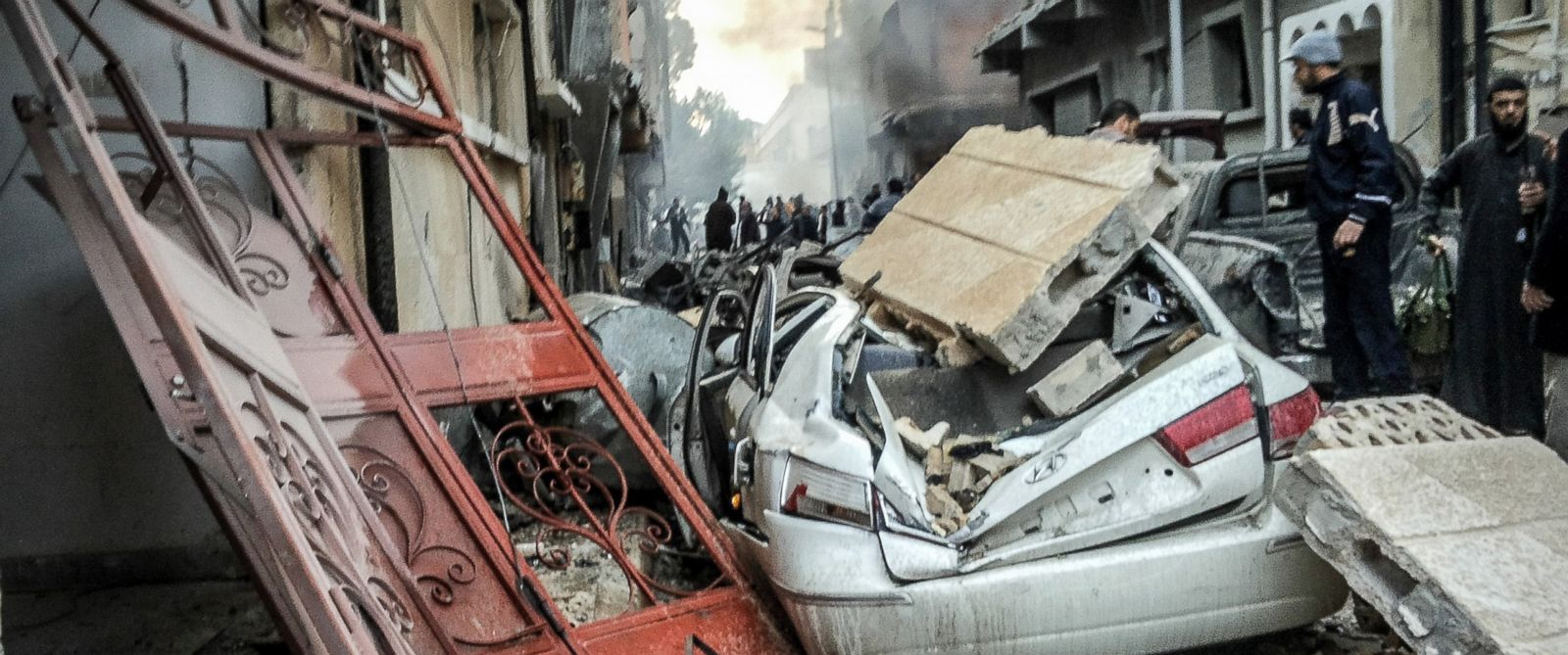 PHOTO: Destroyed buildings seen after Egypts army warplanes carried out airstrikes in Libya