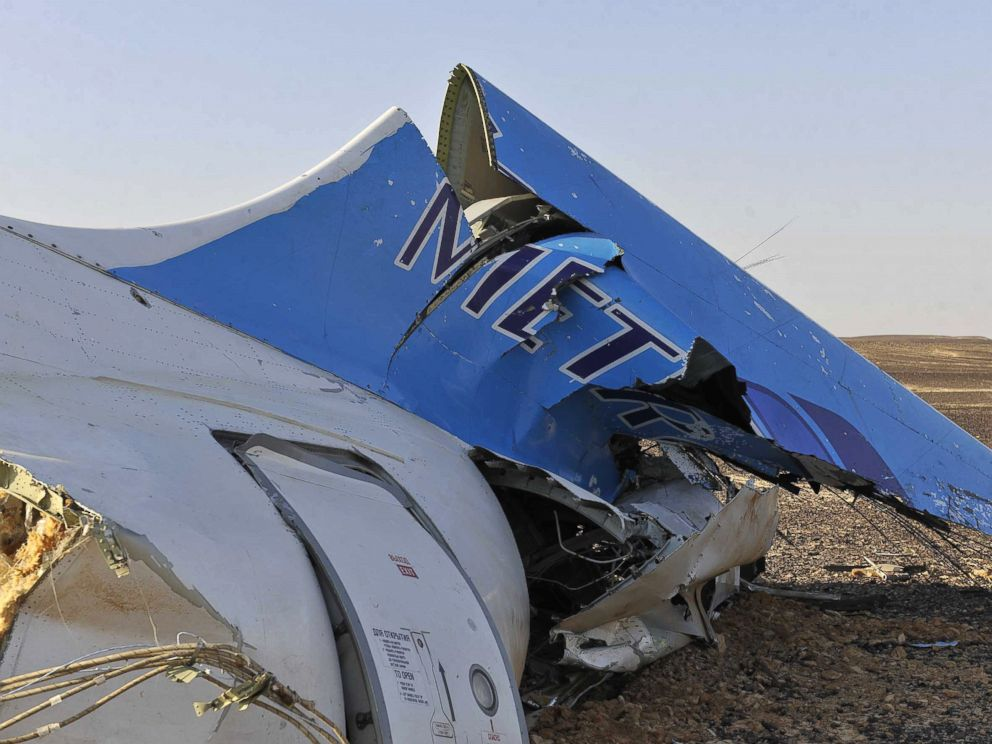 PHOTO:A handout picture released by Egypts Prime Ministers office on October 31, 2015, shows the wreckage of a crashed A321 Russian airliner in Wadi al-Zolomat in Hassana province, a mountainous area of Egypts Sinai Peninsula.