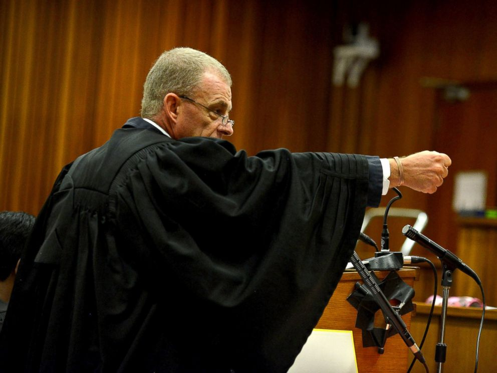 PHOTO: State prosecutor Gerrie Nel questions Oscar Pistorius during cross examination