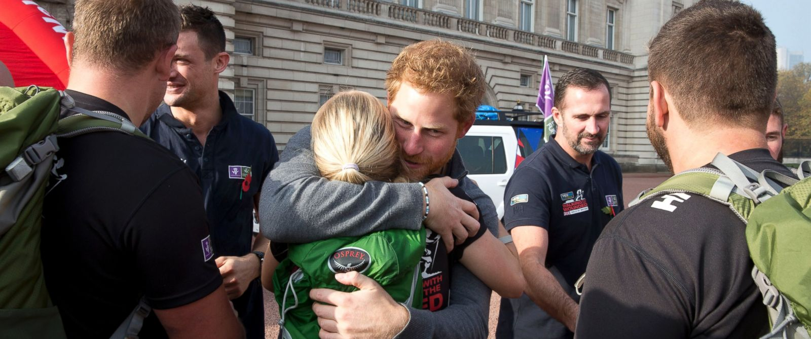 PHOTO: Prince Harry meets with members of the Walking With The Wounded team at Buckingham Palace after their latest endeavor, the Walk Of Britain, Nov. 1, 2015 in London.