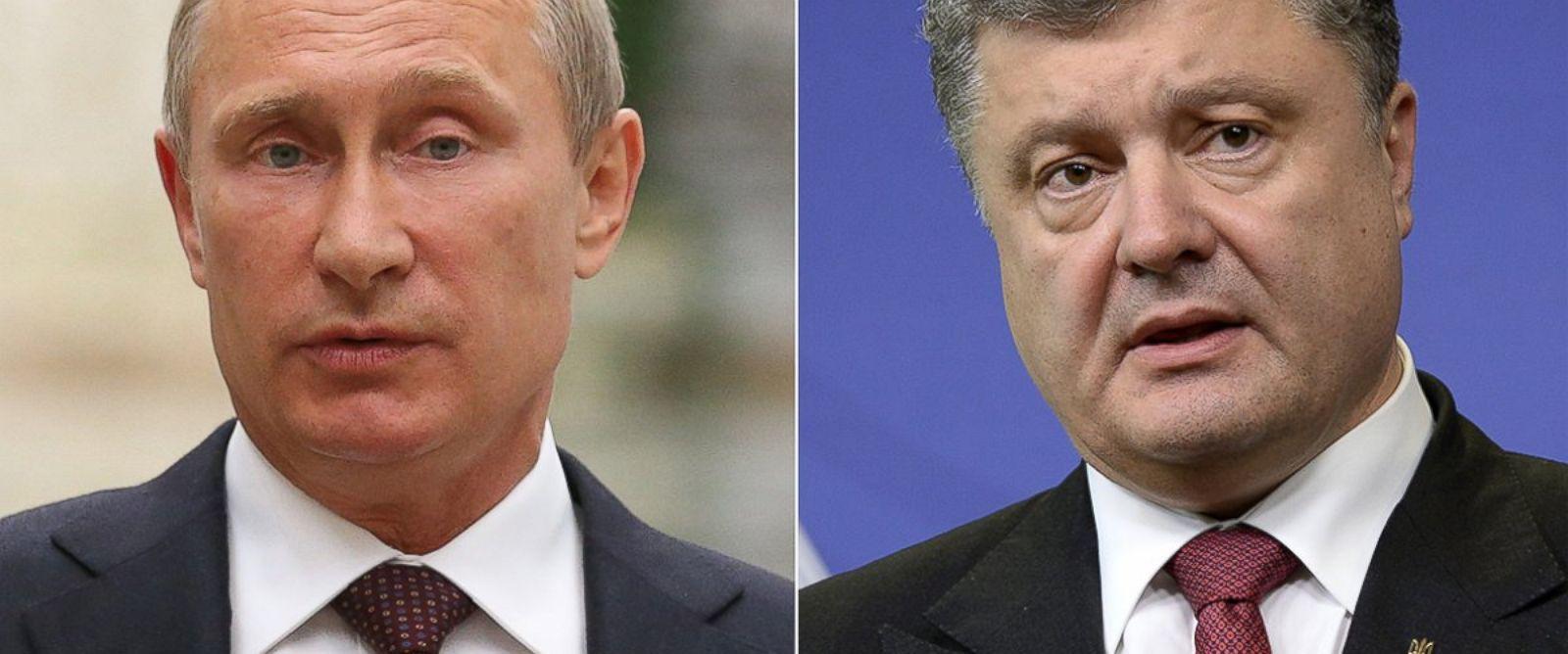 PHOTO: Russian President Vladimir Putin, left, is pictured on Aug. 26, 2014 in Minsk, Belarus. Ukrainian President Petro Poroshenko, right, is pictured on Aug. 30. 2014 in Brussels, Belgium.