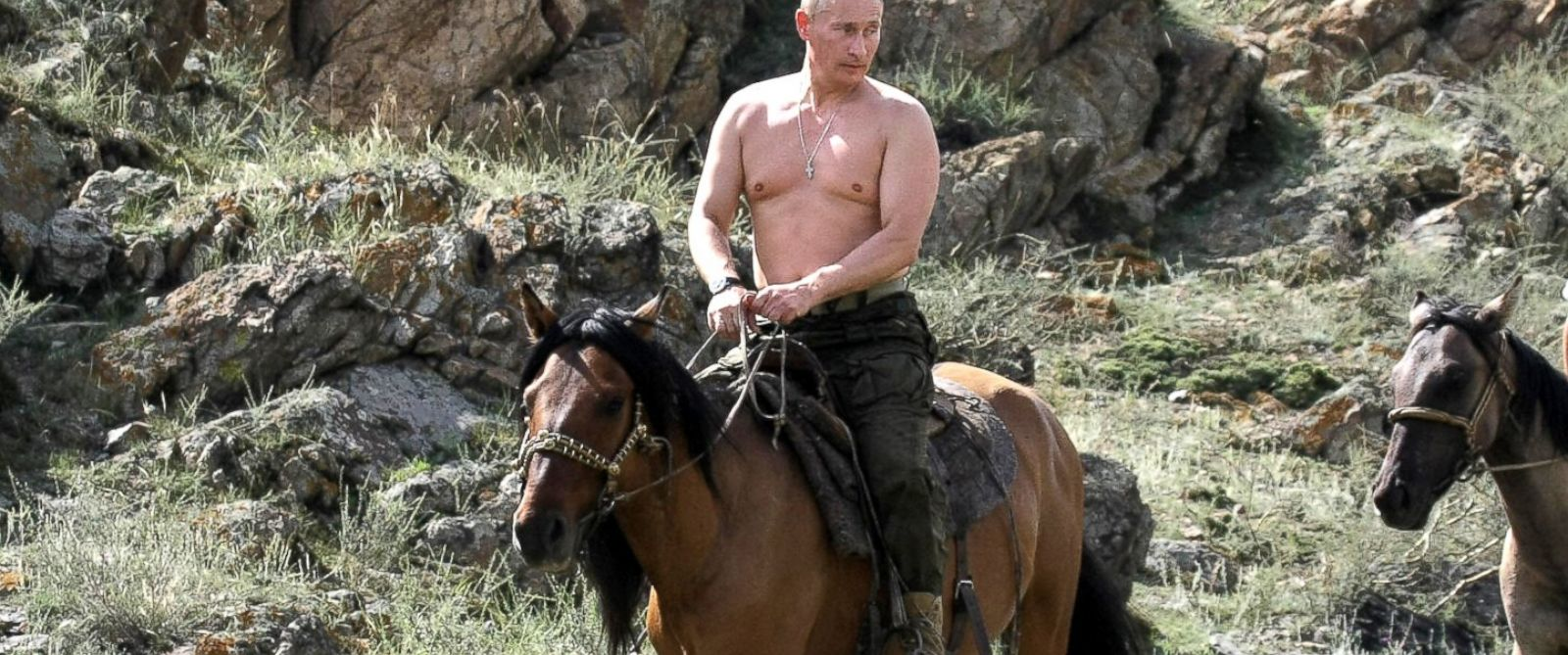 PHOTO: Then Russian Prime Minister Vladimir Putin rides a horse during his vacation outside the town of Kyzyl, Siberia, August 3, 2009.