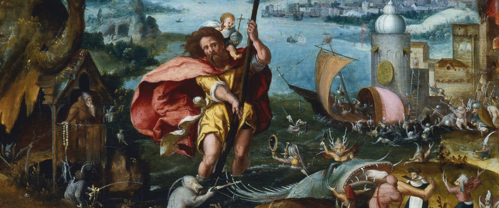 PHOTO: Saint Christopher crosses a river holding an infant Jesus Christ on his back