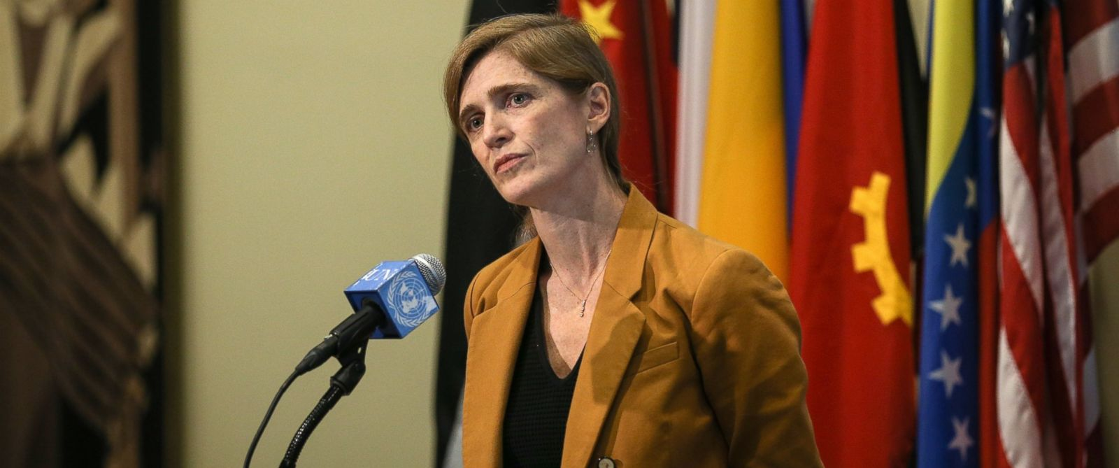 PHOTO: United States Ambassador to the United Nations, Samantha Power at a news conference at United Nations headquarters in New York, Dec. 08, 2015.