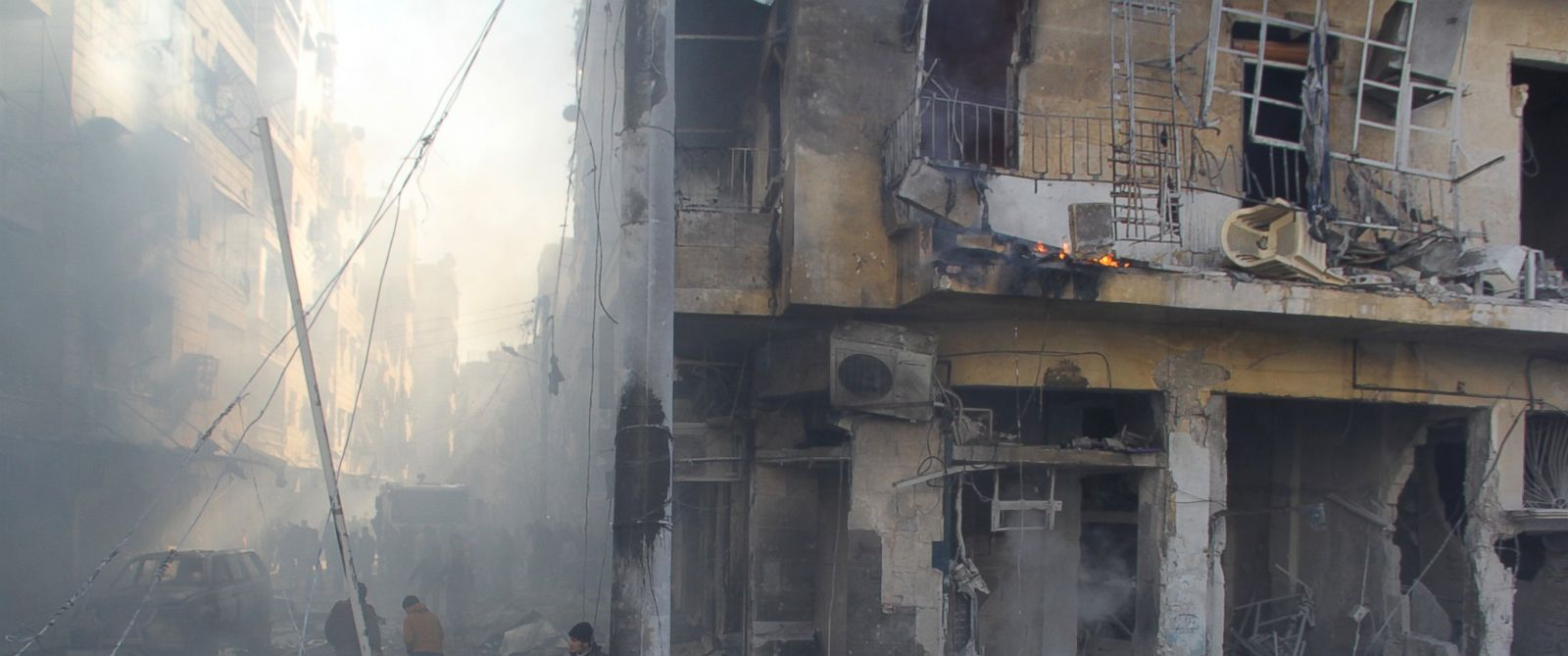 PHOTO:In this file photo, firefighters extinguish a fire after Daesh terrorists car-bomb attack against Ahrar ash-Sham Headquarters in Aleppo, Syria, Jan. 25, 2016.