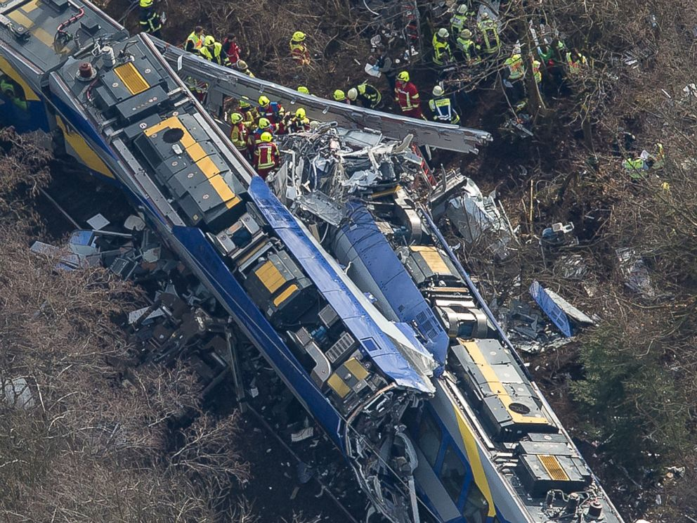 PHOTO: Aerial view shows firefighters and emergency doctors working at the site of a train accident near Bad Aibling, Germany, Feb. 9, 2016.