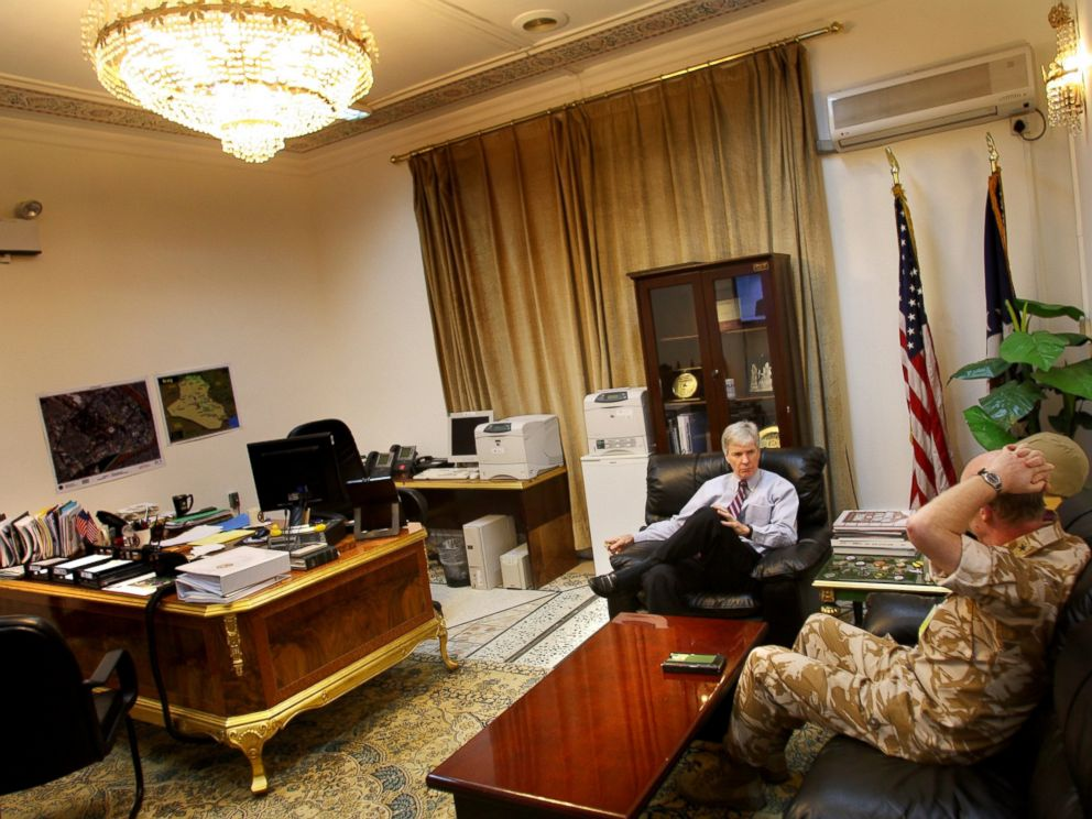 PHOTO: U.S. Ambassador to Iraq Ryan Crocker speaks with British Deputy Commanding General W.R. Rollo in Crockers office at the U.S. Embassy, Sept. 5, 2007 in Baghdad, Iraq.