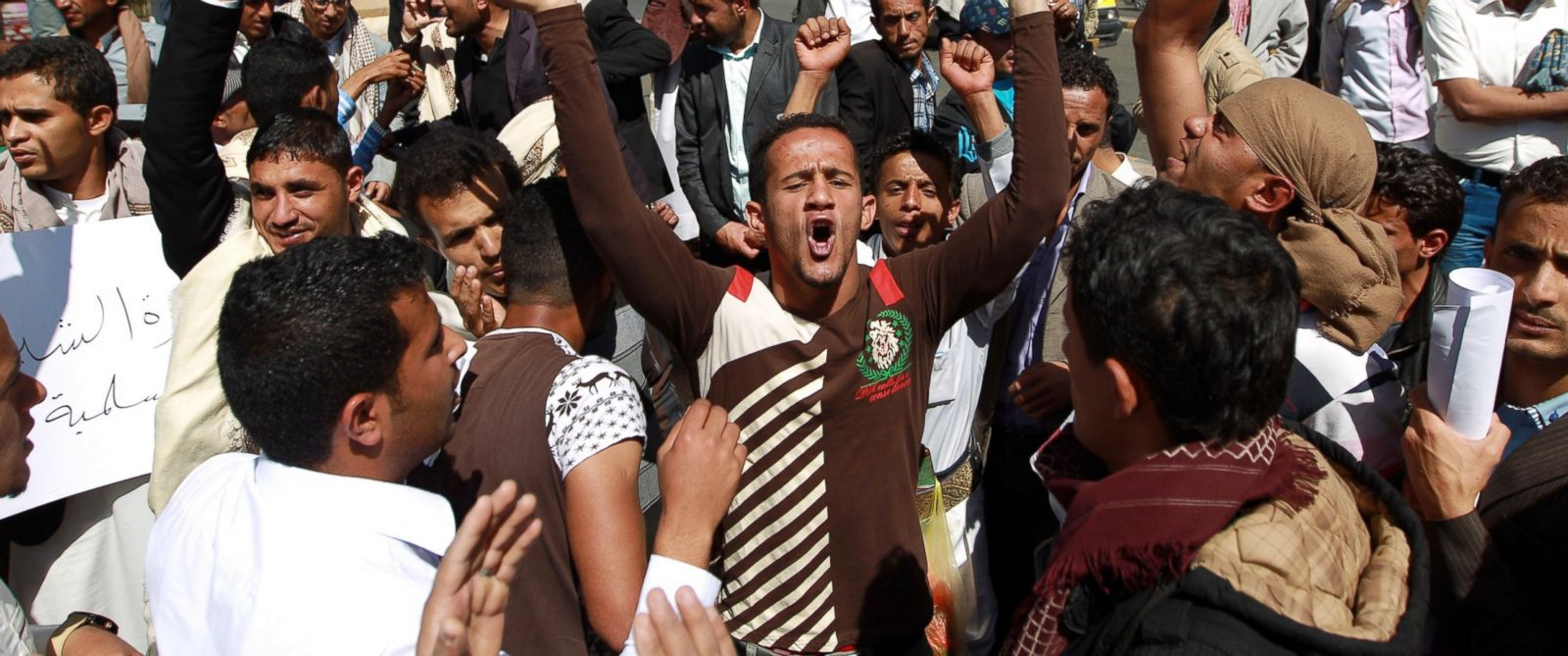 PHOTO: Yemeni protesters shout slogans during a rally against against the control of capital the by Shiite Huthi rebels on Jan. 23, 2015 in the capital Sanaa.