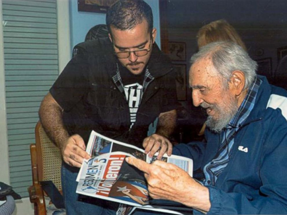 PHOTO: An image from Cubas government website Granma posted Feb. 3, 2015 shows a photo of Fidel Castro with the head of the main Cuban student union Randy Perdomo Garcia in Havana, Cuba.
