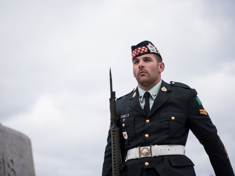 Cpl. Nathan Cirillo, 24, is seen at the National War Memorial in Ottawa, Oct. 19, 2014.