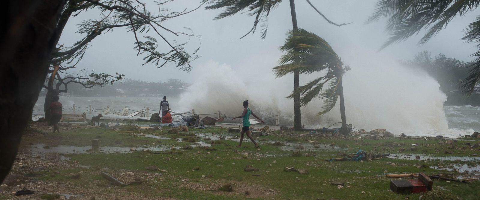 PHOTO: Waves crash along the coastline in Port Vila, Vanuatu, March 14, 2015.