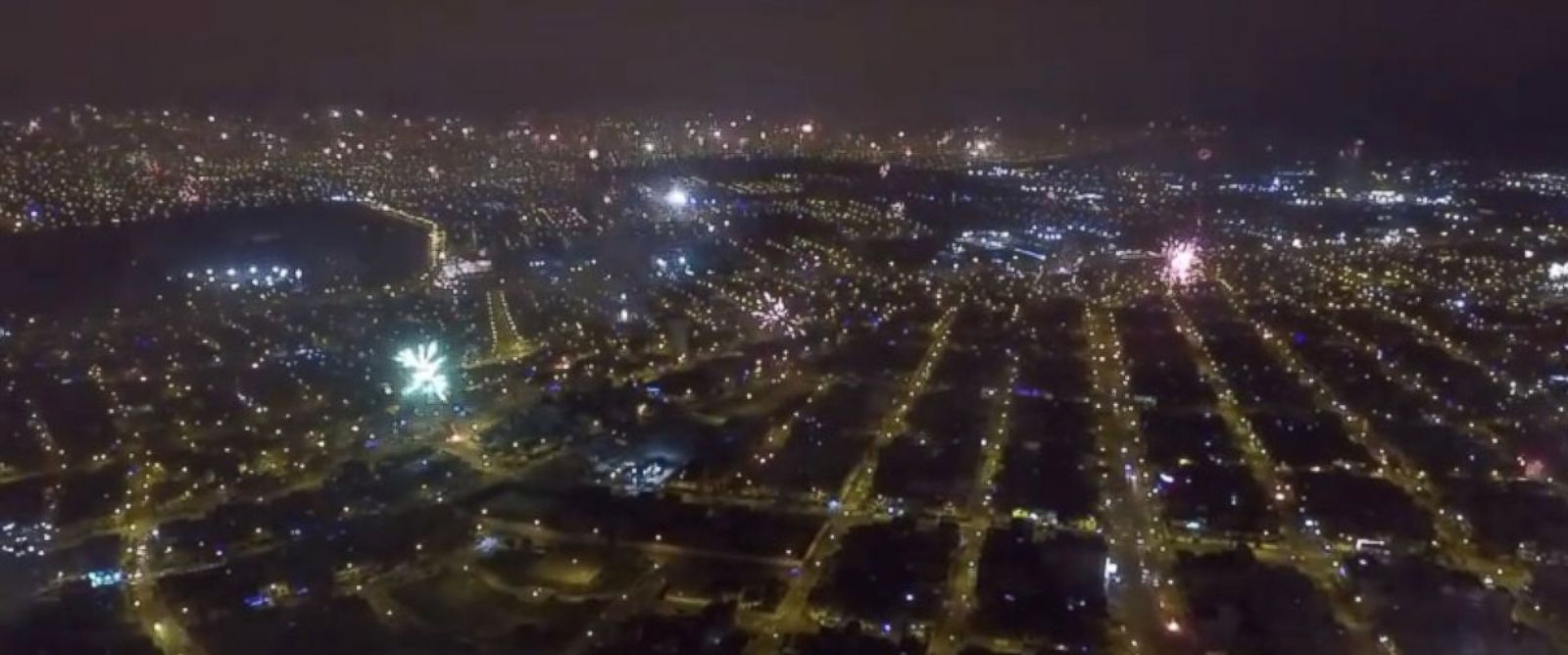PHOTO: This image was shot from a drone showing hundreds of fireworks going off on New Years Eve, Dec. 31, 2015 in Lima, Peru.