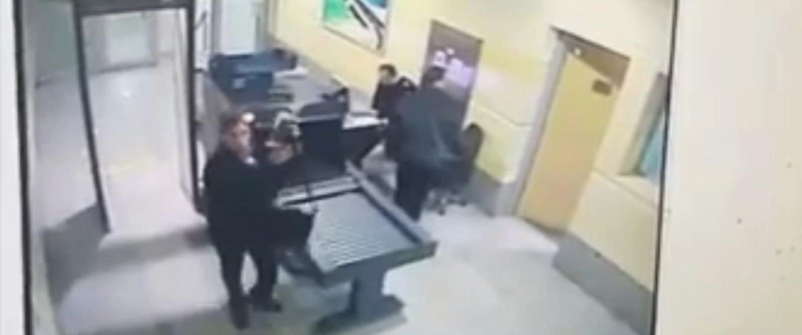 PHOTO: Video from Egyptian Interior Ministry shows the alleged EgyptAir hijacker going through airport security in Alexandria, Egypt.