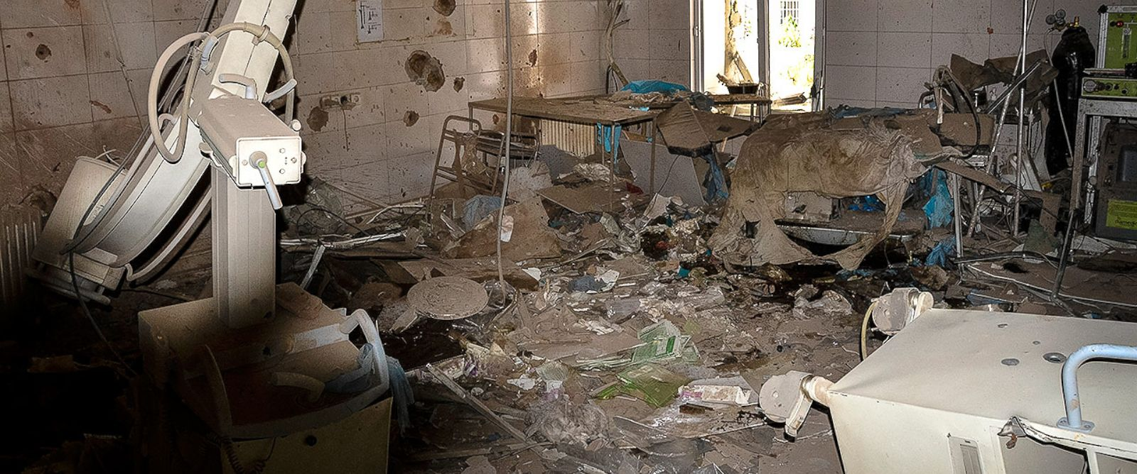 PHOTO:An operating table by the window is barely recognizable after U.S. airstrikes hit the hospital on October 3, 2015.