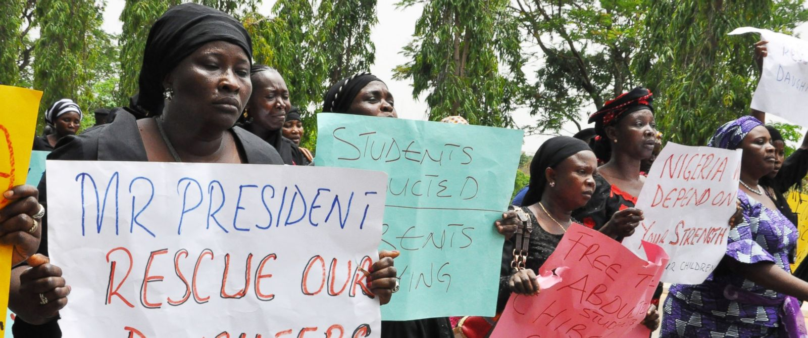 PHOTO: Unidentified mothers call for the president to help, during a demonstration with others who have daughters among the kidnapped school girls of government secondary school Chibok, April 29, 2014, in Abuja, Nigeria.