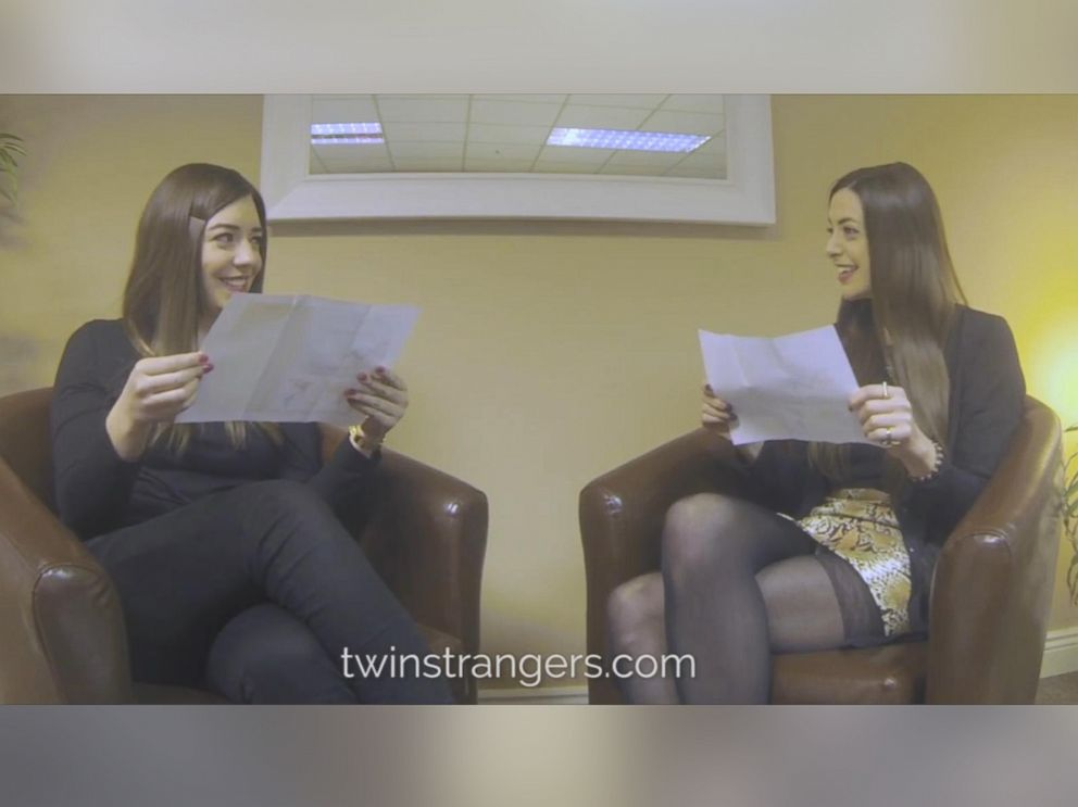 PHOTO: Doppelgangers Niamh Geaney and Irene Adams read the results of a DNA test to find out if they are related.