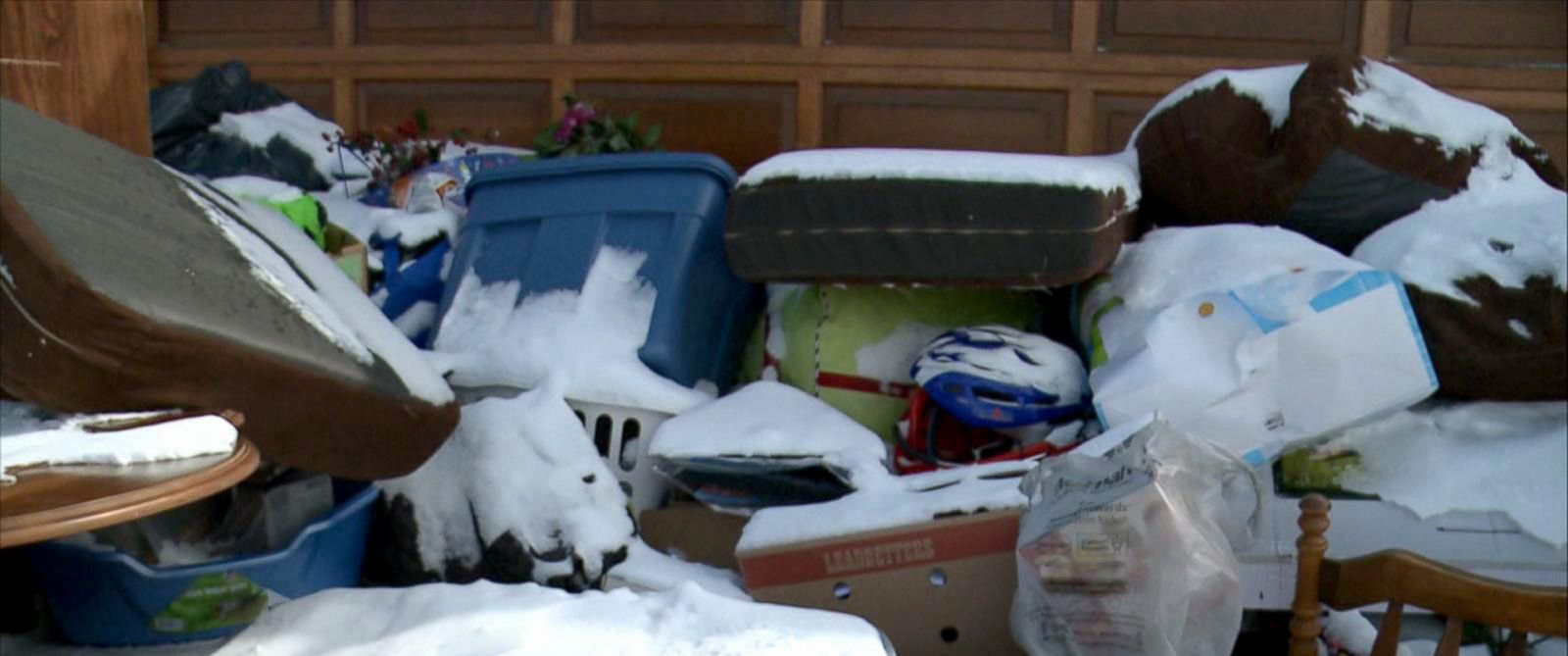 """PHOTO: A married couple from Ottawa, Canada, said they woke up on March 2, 2016, to find """"the entire contents of a strangers home"""" on their driveway."""