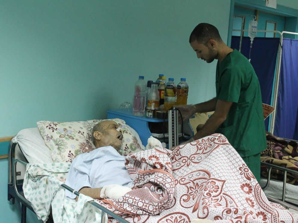 PHOTO: A staffer tends to a patient at El-Wafa hospital in eastern Gaza City.