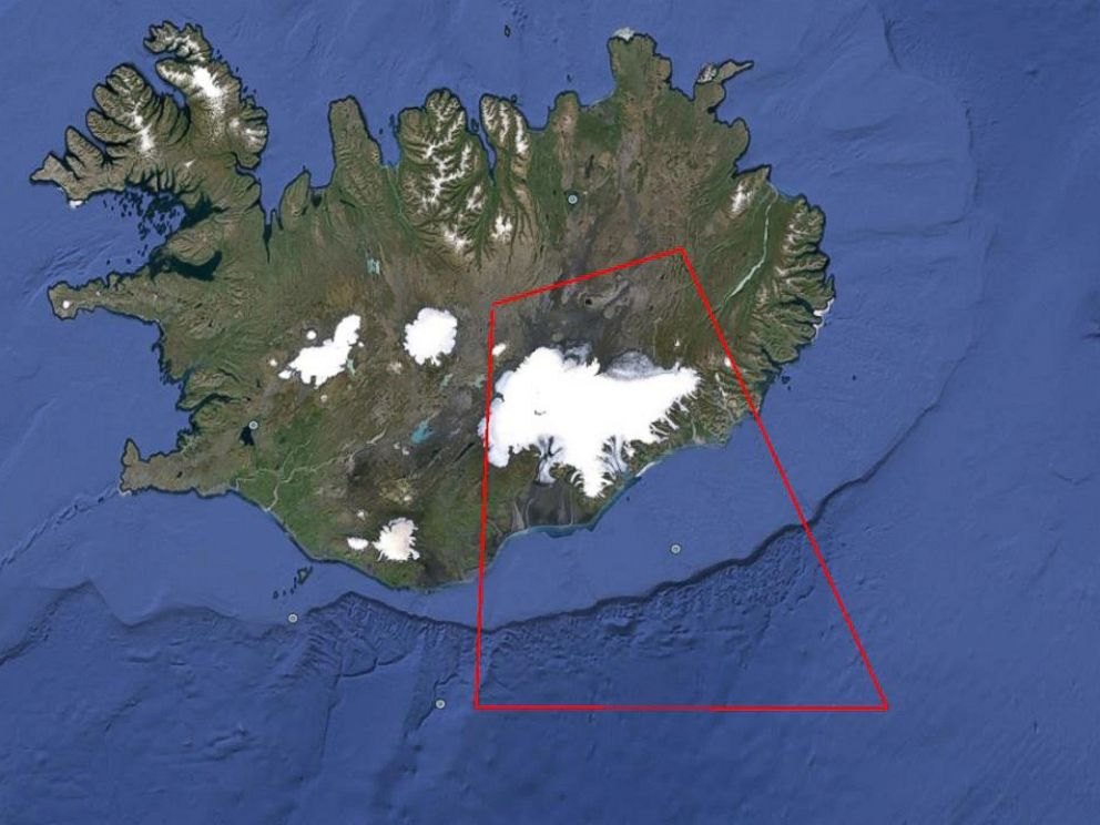 PHOTO: Here is a map from the Civil Aviation Authorities (ISAVIA) showing the area defined as danger area closed for instrument flight rules (IFR) due to a potential eruption in northern Vatnajökull glacier.