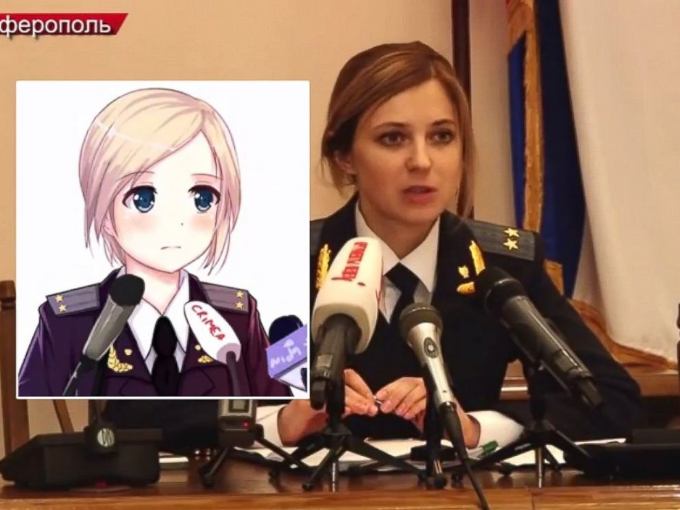 PHOTO: Natalia Poklonskaya is seen during her March 2014 speech. Inset: one of many animated sketches of Poklonskaya that is circulating the internet.