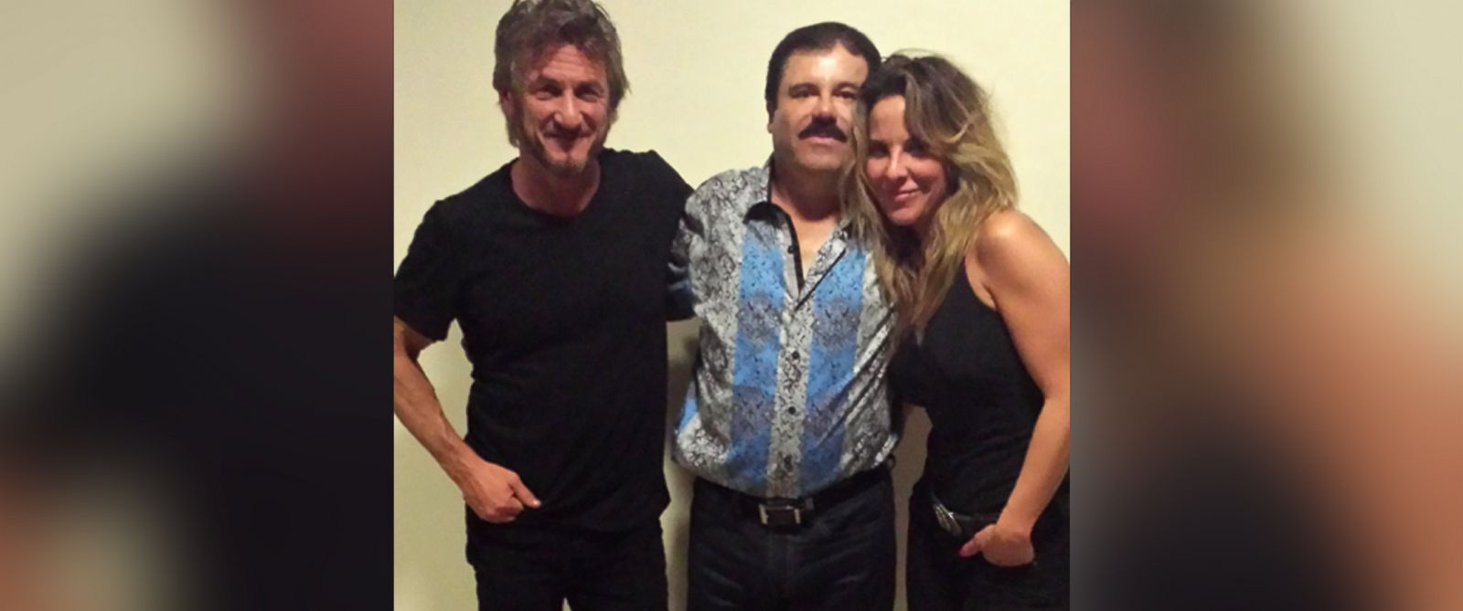 """PHOTO: Actor Sean Penn and actress Kate del Castillo are pictured together with notorious Mexican drug kingpin Joaquin """"El Chapo"""" Guzman during their meeting."""