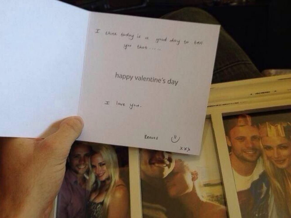 PHOTO: The Valentines Day card Reeva Steenkamp gave to Oscar Pistorius