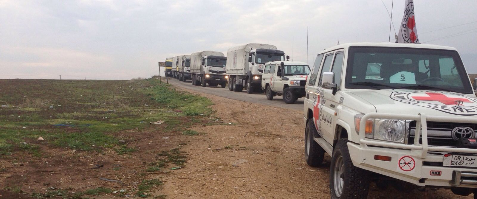 PHOTO: United Nations and Red Cross aid convoys heading to the besieged Syrian towns of Madaya , Foua and Kefraya, Jan. 11th 2016.