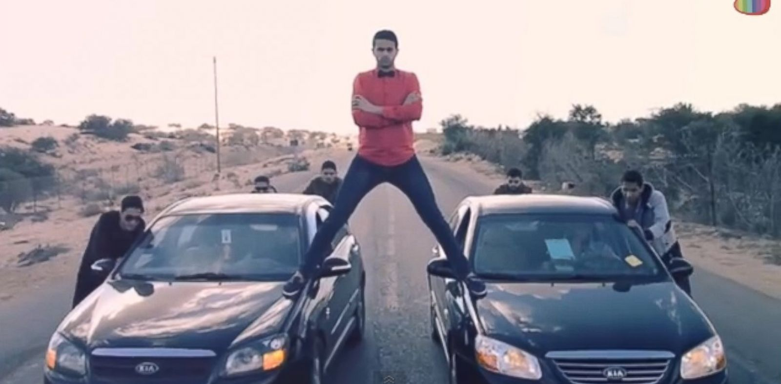 PHOTO: A Palestinian comedy troupe parodied a viral Volvo advertisement that featured martial artist Jean-Claude Van Damme.