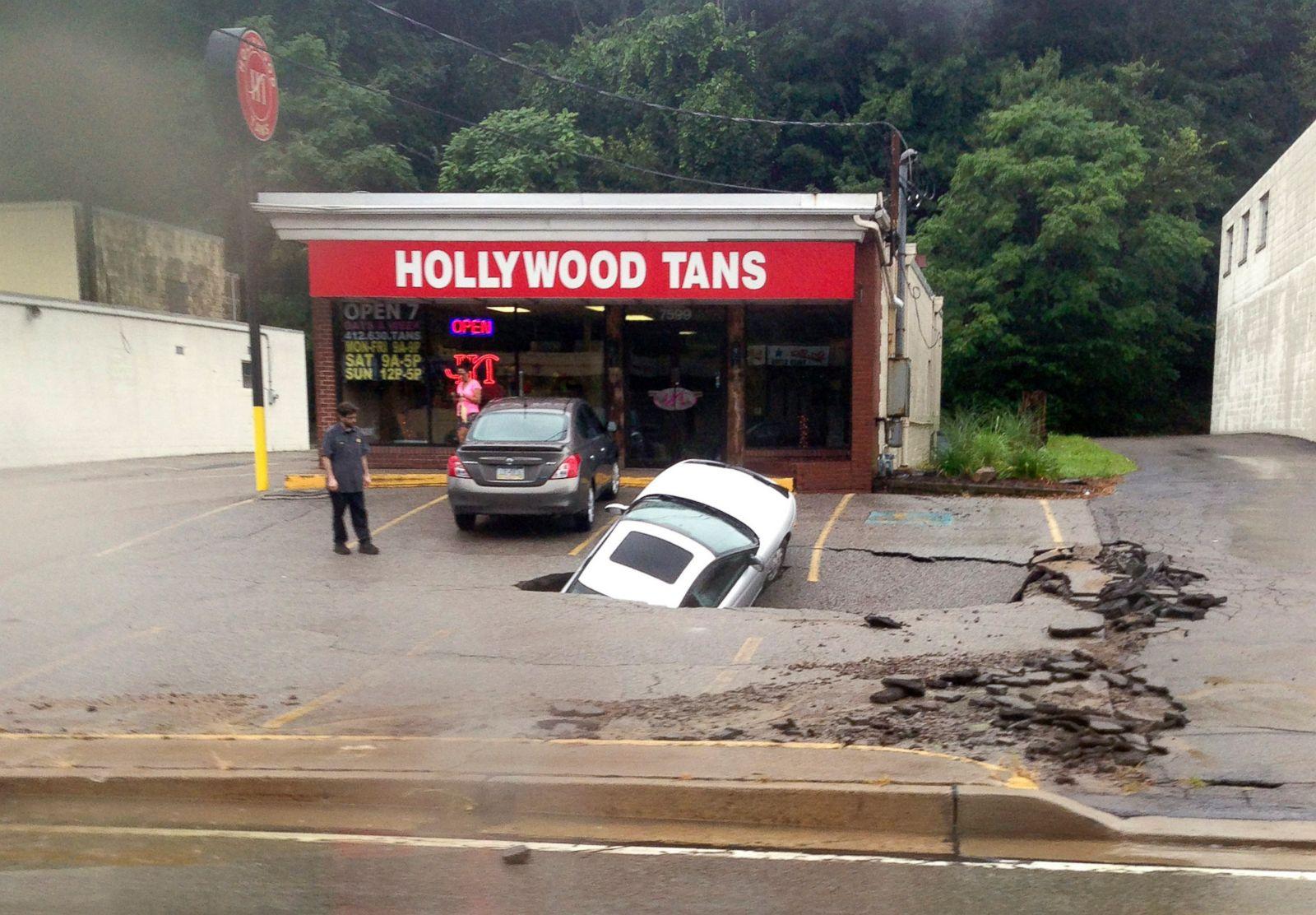 Pennsylvania Sinkhole Swallows Car Picture Incredible