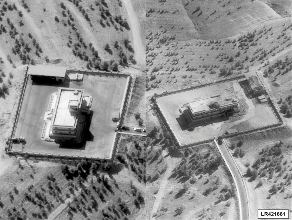 Pictures showing an ISIS command and control Center in Syria before, left, and after it was struck by bombs dropped by a U.S. F-22 fighter jet are seen in handouts released by the U.S. Department of Defense, Sept. 23, 2014.