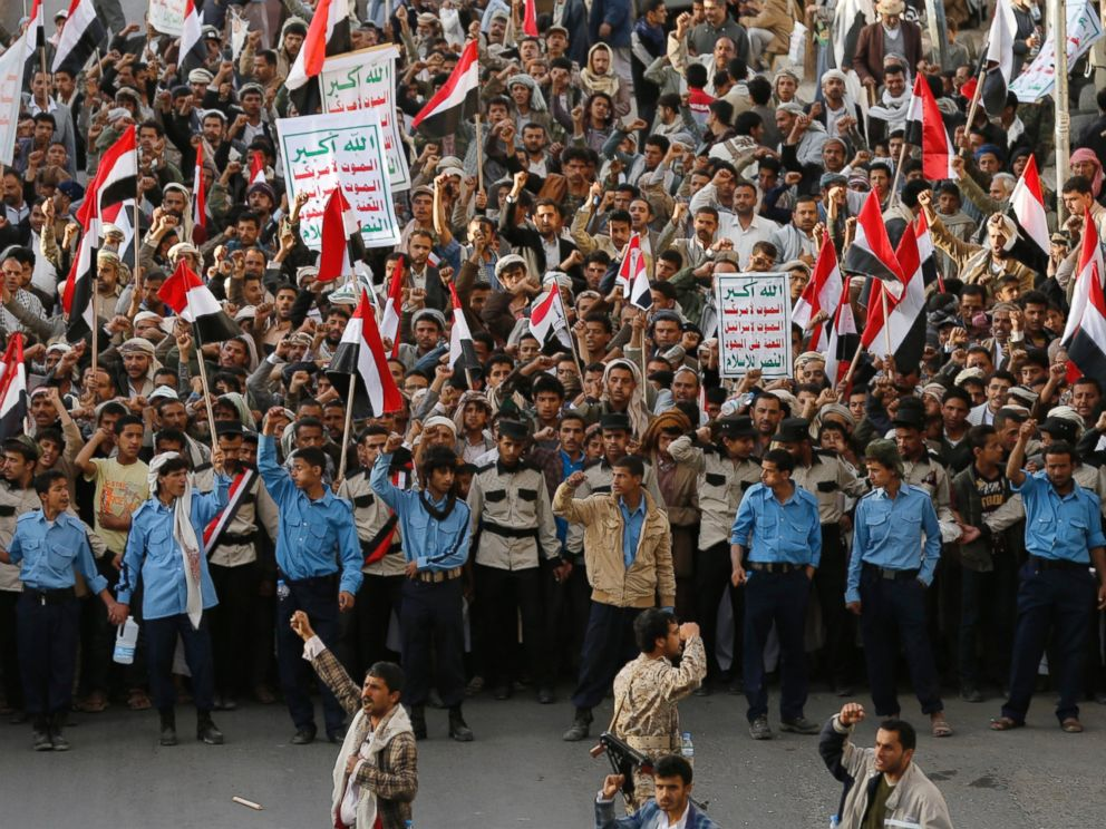 PHOTO: Pro-Houthi protesters demonstrate to commemorate the fourth anniversary of the uprising that toppled former President Ali Abdullah Saleh in Sanaa, Feb. 11, 2015. The banners praised Allah and expressed anti-Western sentiments.