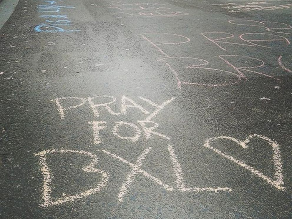 PHOTO: Virgine Nguyen Hoang posted a photo on Instagram with the message: People start writing on the ground of #brussels center in solidarity with the victims. #onassignment