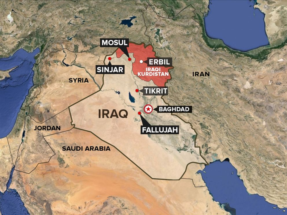 PHOTO: A map showing the Kurdish region of Iraq.