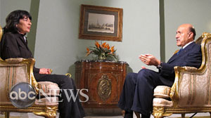 Photo: Christiane Amanpour speaks with Egyptian Vice President Omar Suleiman in an exclusive interview.