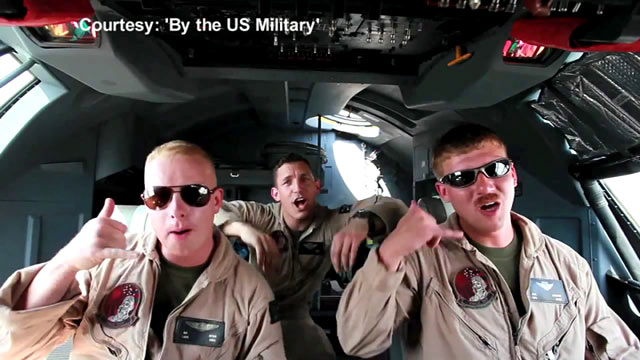 """PHOTO: U.S. Marines stationed in Afghanistan lip-syncing to Carly Rae Jepsens song """"Call Me Maybe."""""""