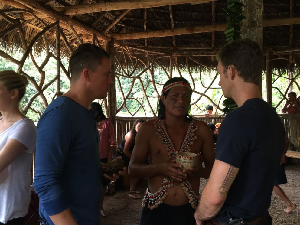 Channing Tatum (left) and Runa co-founder Tyler Gage (right) talk with a Kichwa elder.