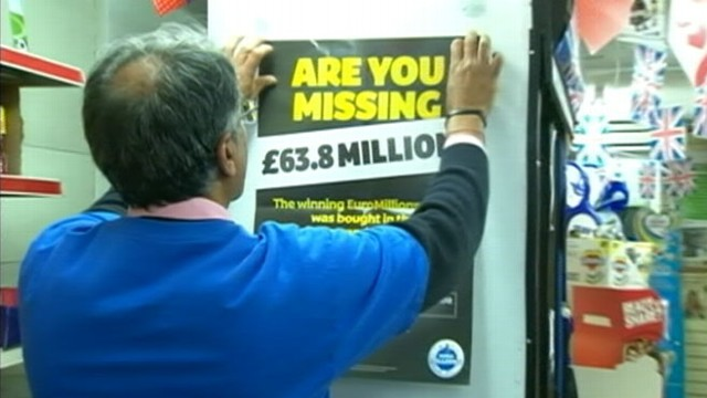 VIDEO: National Lottery is trying to find the person who purchased the ticket in a town north of London.