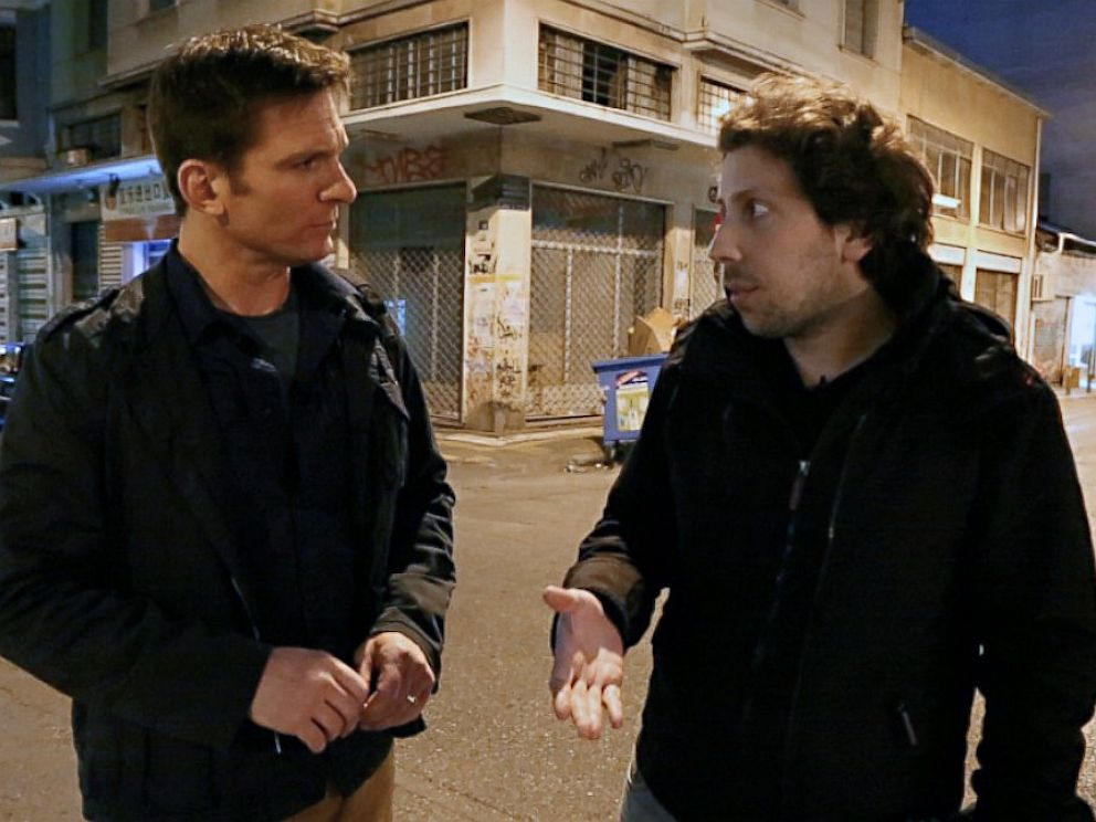 PHOTO: Nightlines Bill Weir, left, talks with filmmaker Konstantinos Georgousis