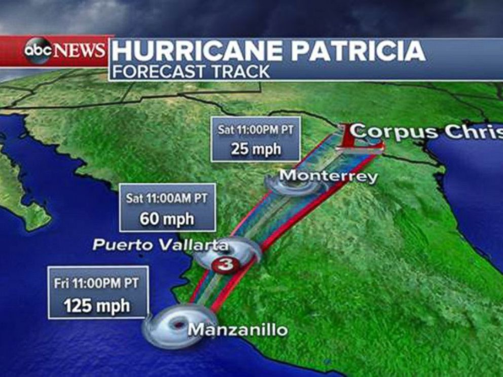 PHOTO: A forecast track shows the path that Hurricane Patricia is expected take when it hits Mexico.