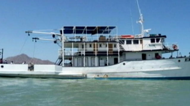 PHOTO:One person drowned and six others are missing after a chartered fishing boat capsized off Mexicos Baja California peninsula.
