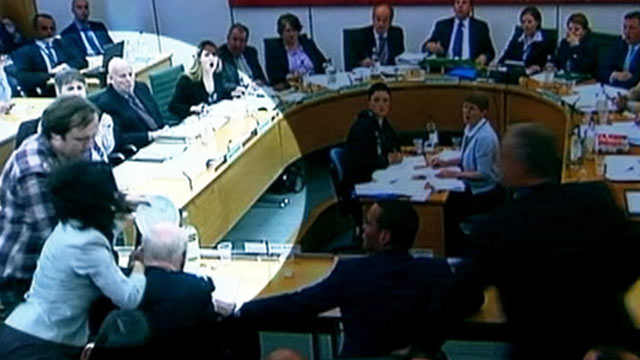 PHOTO:Rupert Murdoch is attacked at the Culture, Media and Sport Select Committee hearing on the News of the World phone-hacking scandal, July 19, 2011.