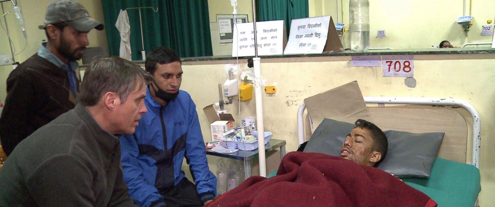 ABCs Terry Moran speaks with an earthquake survivor in Kathmandu, Nepal.