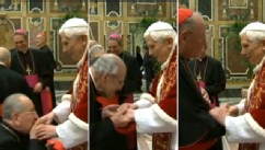 PHOTO: Cardinals say goodbye to Pope Benedict on Feb. 28, 2013, his last day as Pontiff.