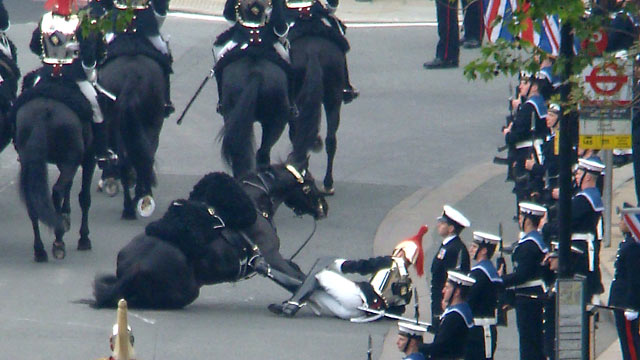 PHOTO:Horse Falls in Royal Wedding Parade